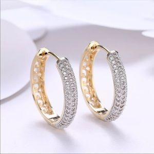 18k Gold Plated 24mm Circle Hoop Earrings